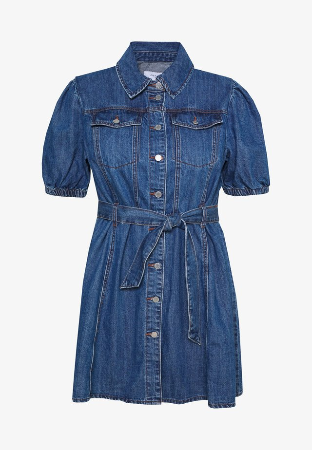 PUFF SLEEVE MINI DRESS - Denim dress - dark denim