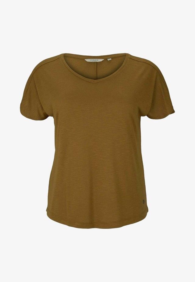 OVERCUT SLEEVES - Camiseta básica - khaki