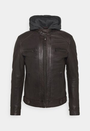 ERIC HOOD - Leather jacket - dark broun/antrzit