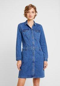 s.Oliver - KURZ - Denim dress - blue denim - 0