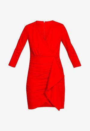 FAUX MINI WRAP DRESS - Koktejlové šaty/ šaty na párty - red