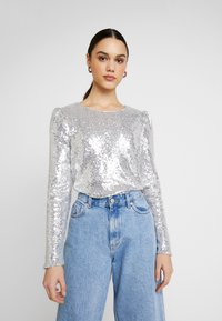 Nly by Nelly - PERFECT SEQUIN - Bluser - silver - 0
