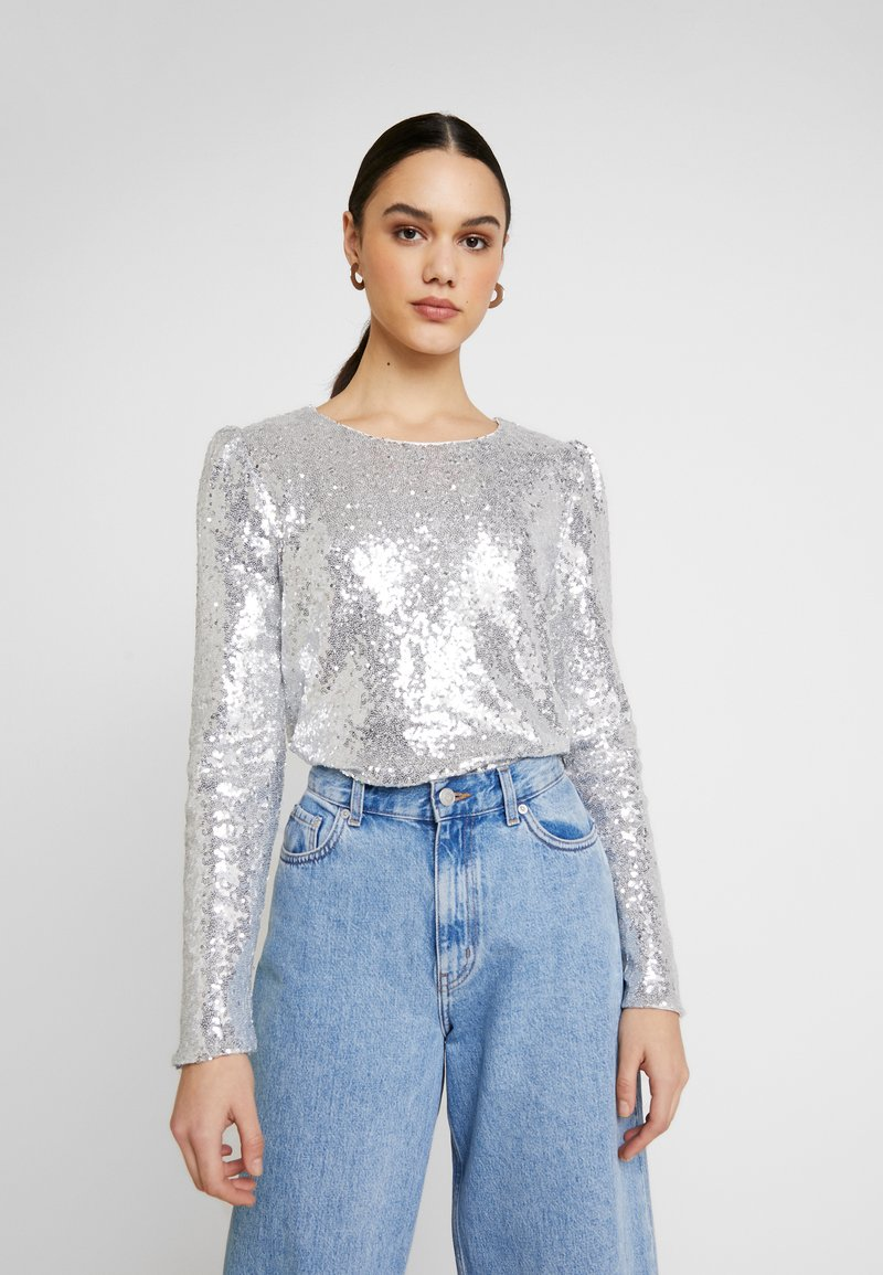 Nly by Nelly - PERFECT SEQUIN - Bluse - silver