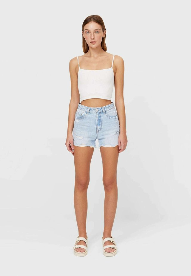 MIT RISSEN  - Jeans Shorts - mottled blue