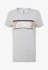 Tommy Jeans - METALLIC LOGO TEE - T-shirts med print - grey - 3