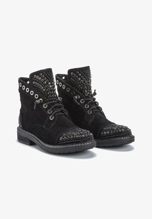 YUCHAN - Lace-up ankle boots - black
