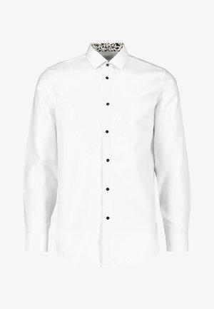 WHITE SLIM FIT SINGLE CUFF FLORAL CONTRAST TRIM SHIRT - Camicia - white