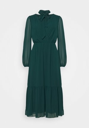 TIE NECK MIDI DRESS - Cocktail dress / Party dress - emerald green