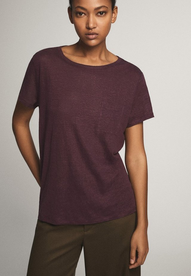 MIT TASCHE  - T-shirt basic - dark purple