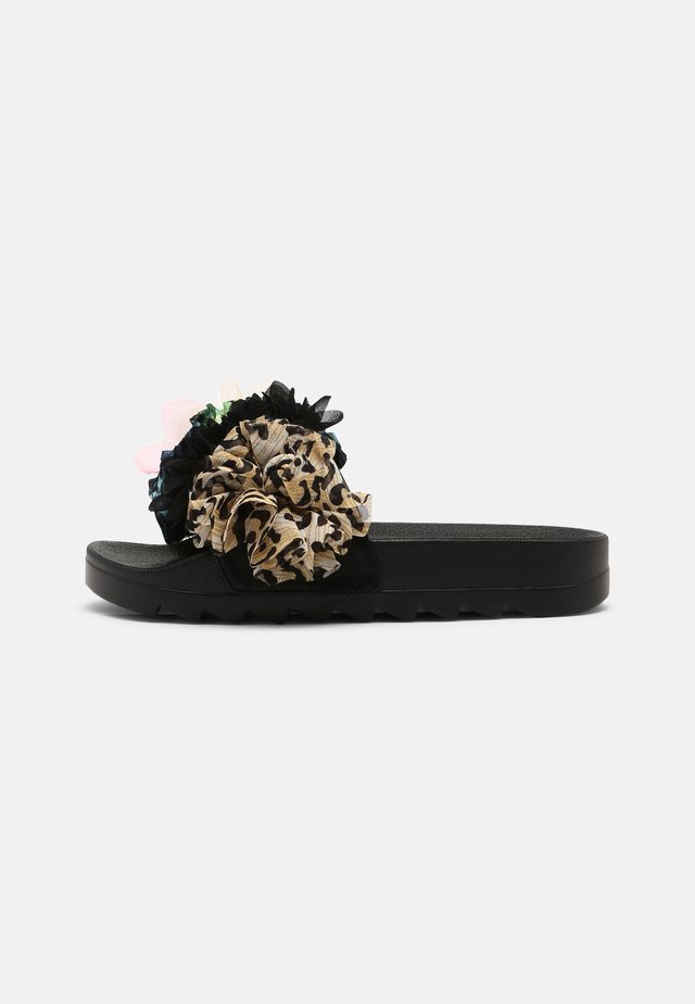 SLIDE MULTI FLOWERS - Muiltjes - black