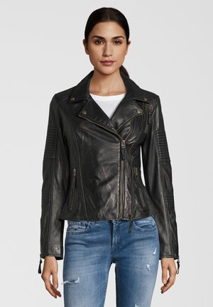 LEDERJACKE MUFFIN - Leather jacket - black