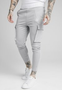 SIKSILK - DUAL STRIPE PANT - Teplákové kalhoty - grey/white - 0