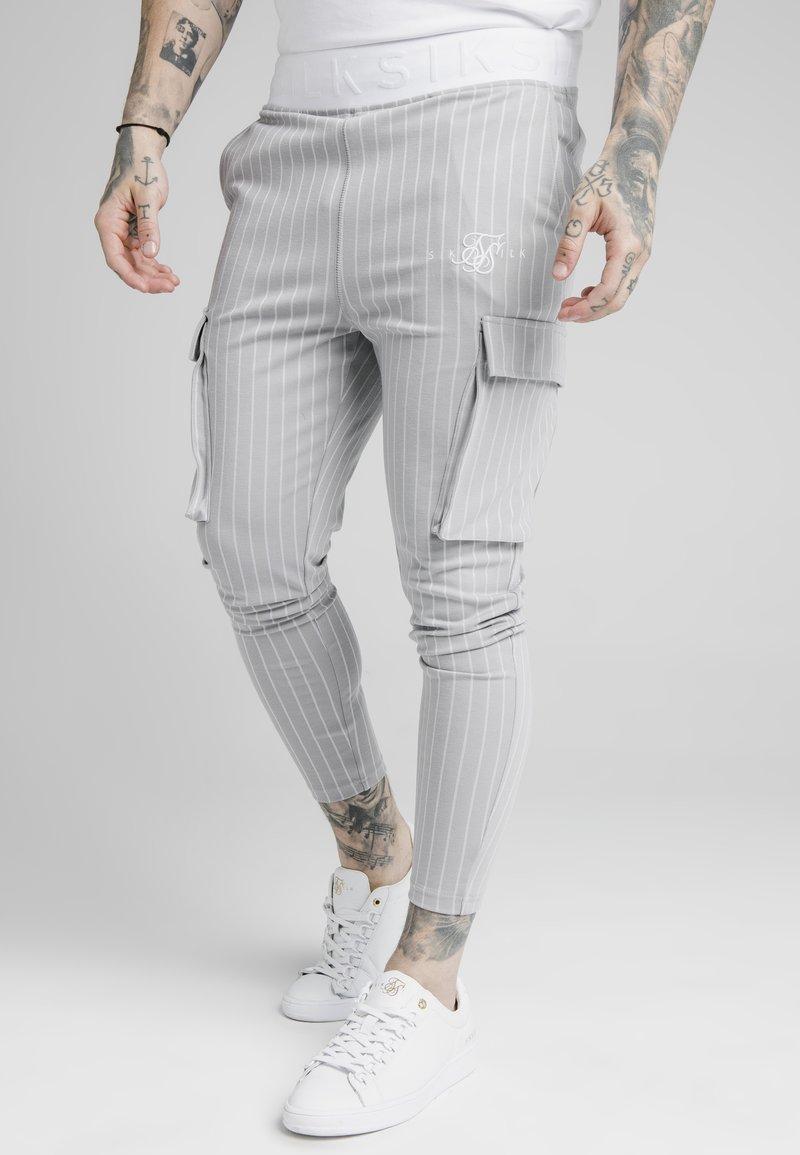 SIKSILK - DUAL STRIPE PANT - Teplákové kalhoty - grey/white