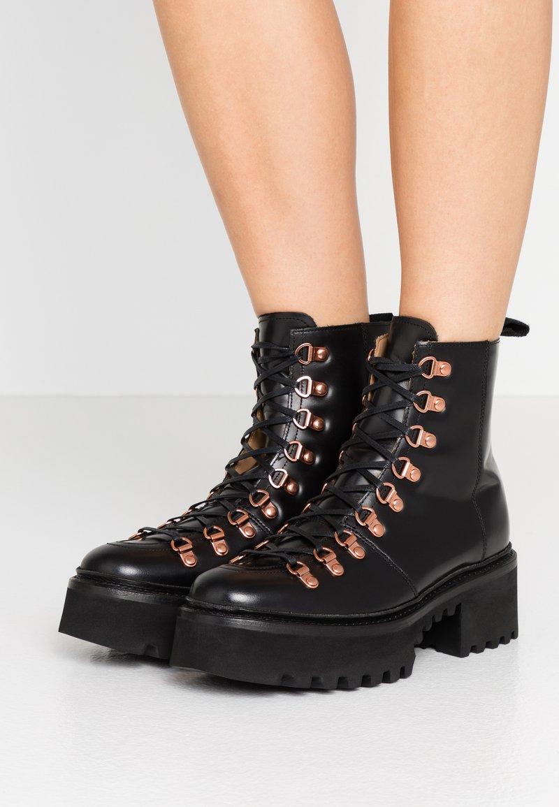Grenson - NANETTE - Platform ankle boots - black colorado