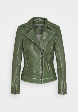 FREYA - Leather jacket - dark green
