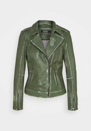 FREYA - Kožená bunda - dark green