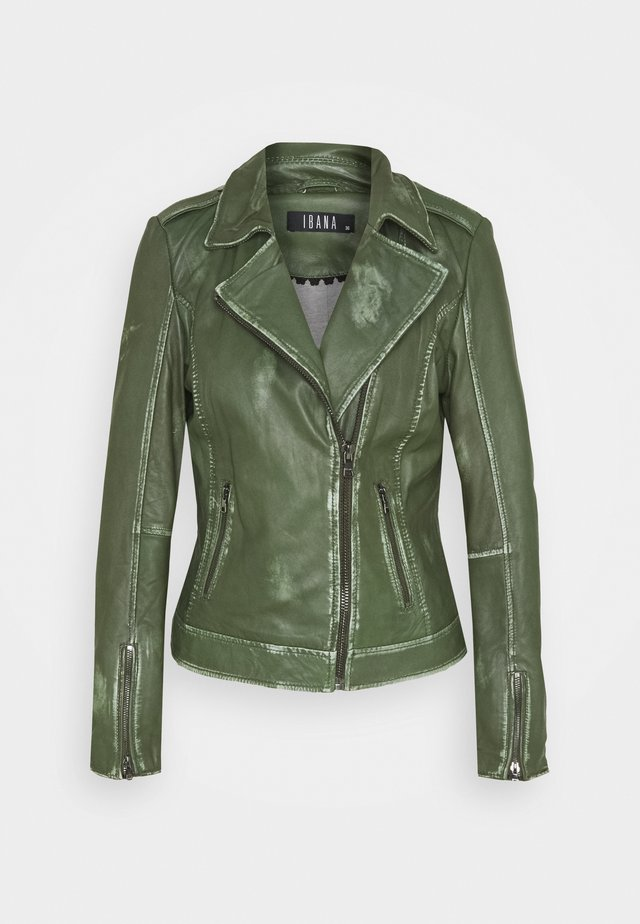 FREYA - Leather jacket - dark green
