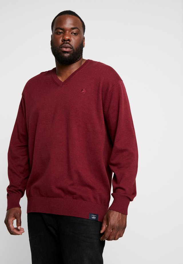 V-NECK - Jumper - winter berry melange