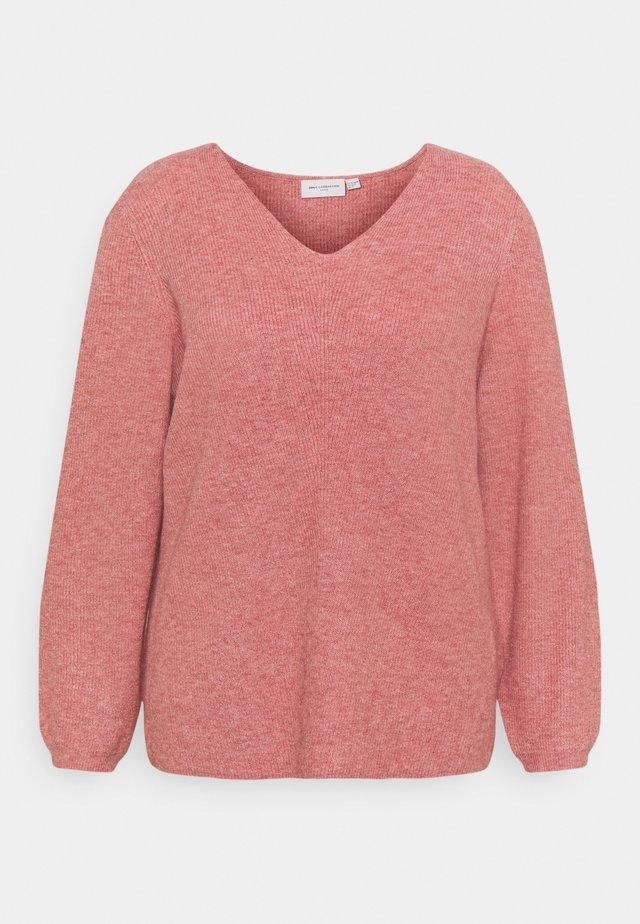 CARATIJA VNECK - Sweter - light mahogany melange