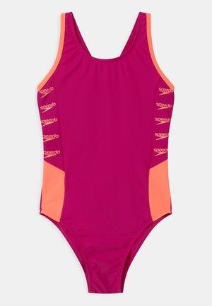 BOOM LOGO SPLICE MUSCLEBACK - Swimsuit - electric pink/neon fire