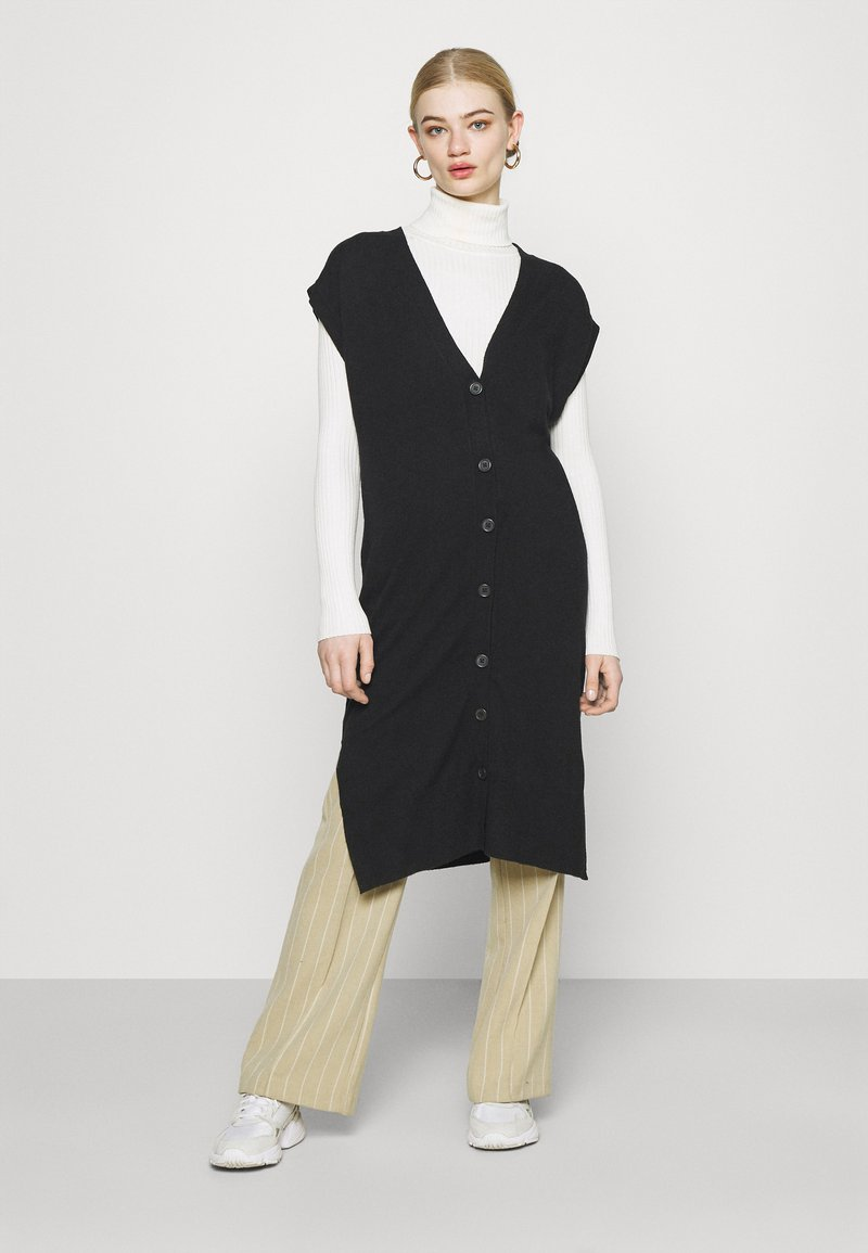ONLY - ONLLELY LONG BUTTON  - Waistcoat - black