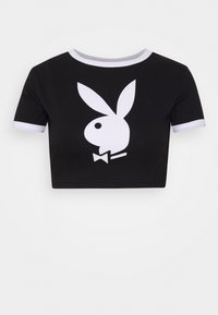Missguided Petite - PLAYBOY RINGER DETAIL SLOGAN - Camiseta estampada - black - 0