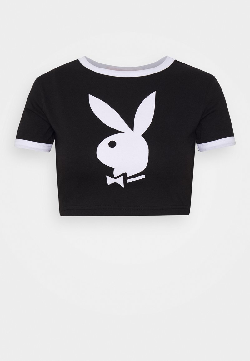 Missguided Petite - PLAYBOY RINGER DETAIL SLOGAN - Camiseta estampada - black