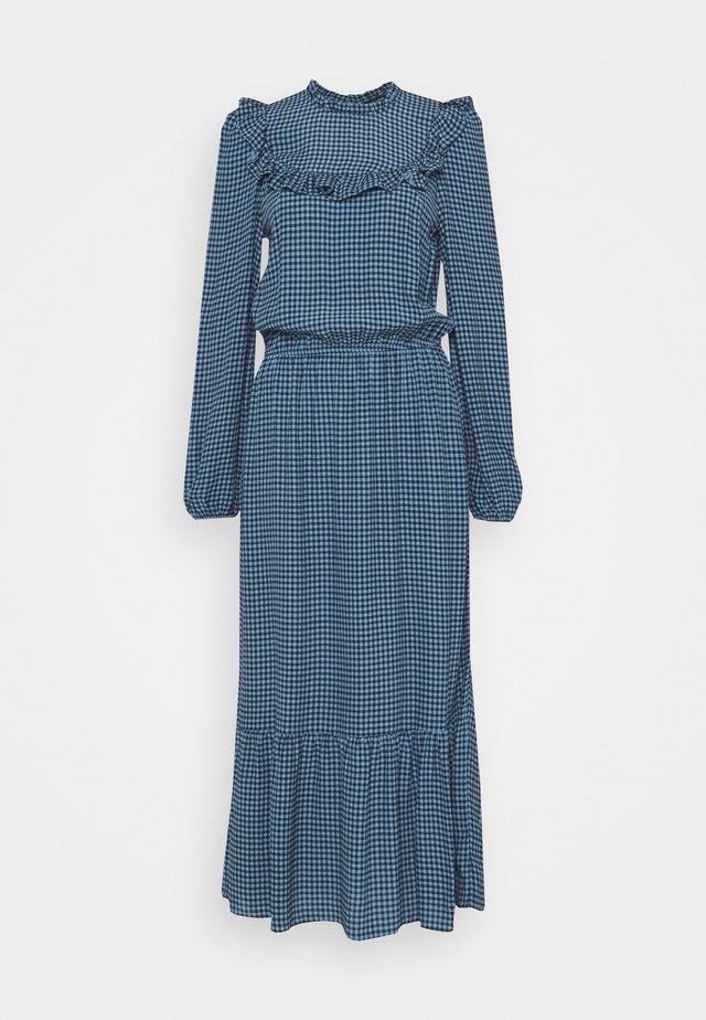 CHECK GINGHAM FRILL DRESS - Denní šaty - blue