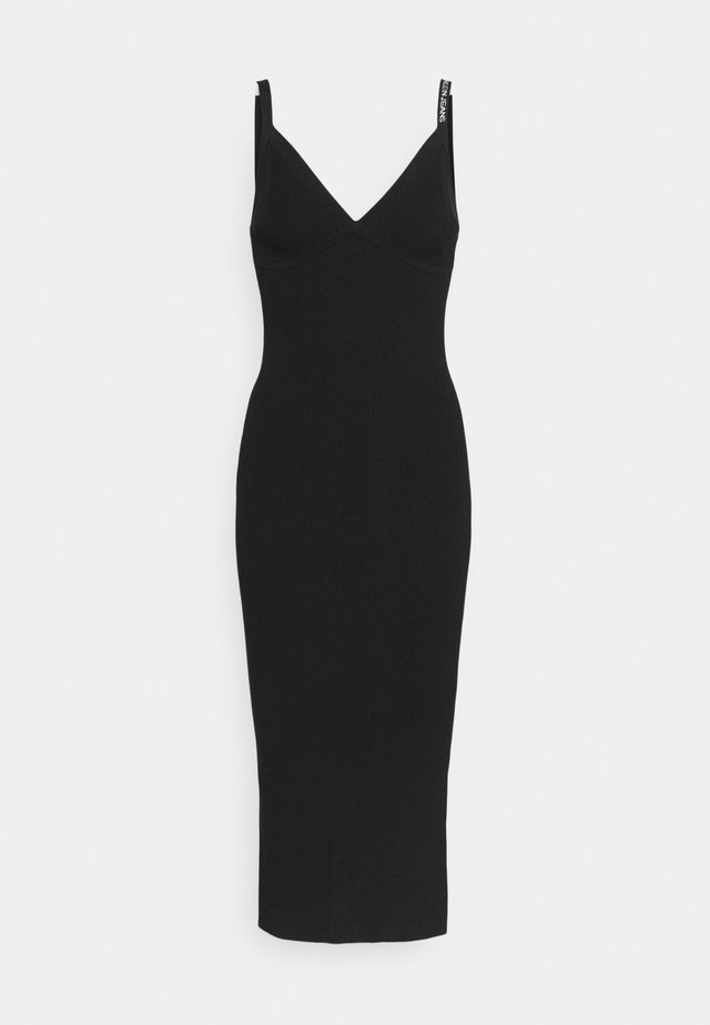 STRAPPY LONG KNITTEDDRESS - Gebreide jurk - ck black