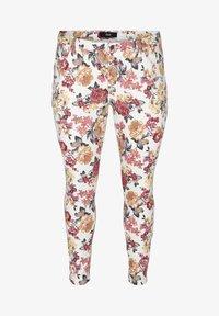 Zizzi - Slim fit jeans - white flower aop - 2