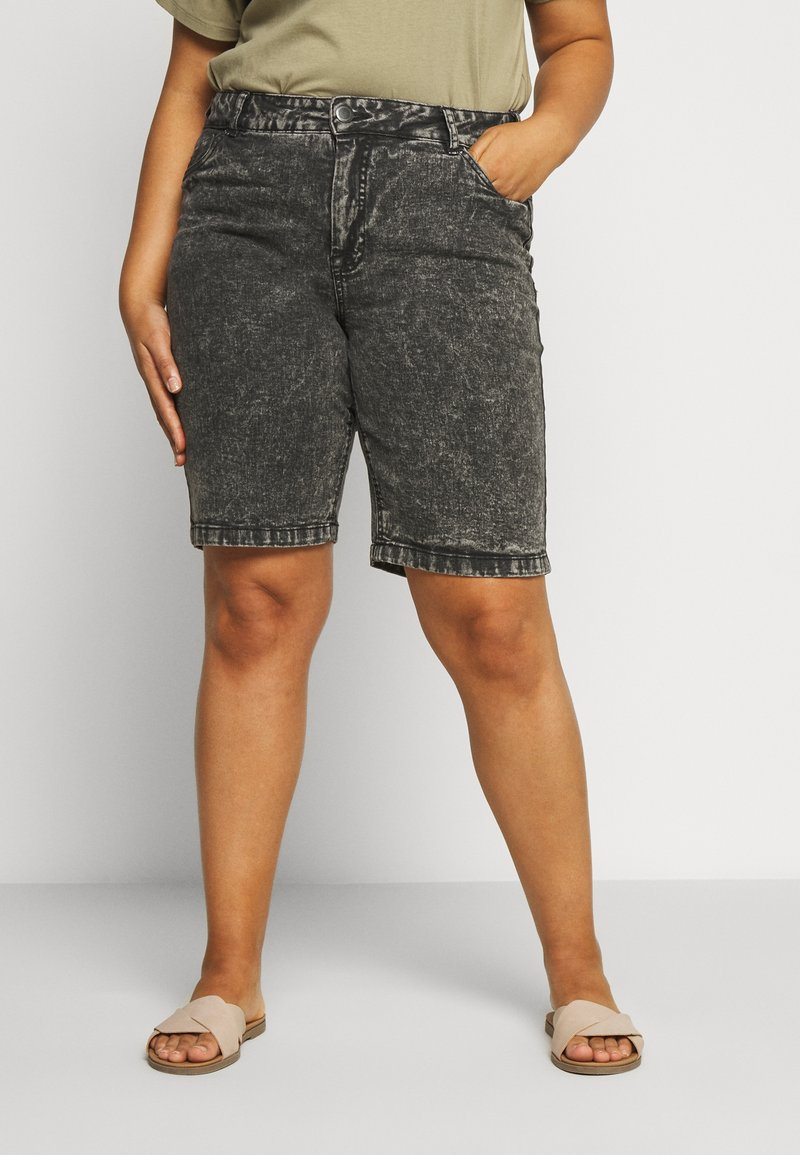 Zizzi - JALBA HIGH WAIST - Denim shorts - grey denim