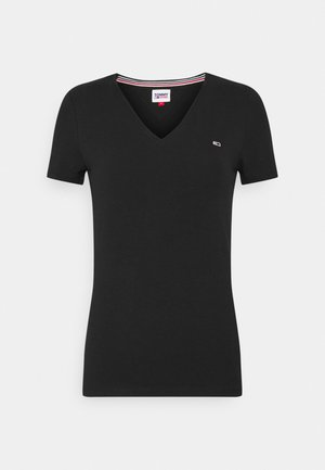 SKINNY STRETCH V NECK - T-shirt basic - black
