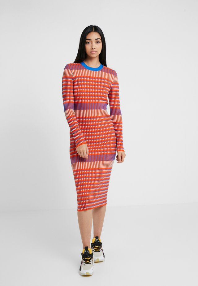 STRIPED DRESS - Jumper dress - orange/skate blue