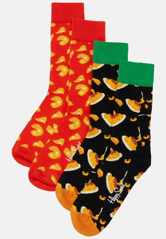 CHEESE PIZZA 2 PACK - Calze - black/red