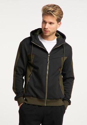 Zip-up hoodie - schwarz oliv