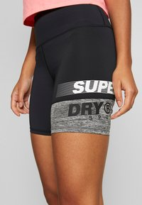Superdry - TRAINING GRAPHIC SHORTS - Leggings - grey marl - 4