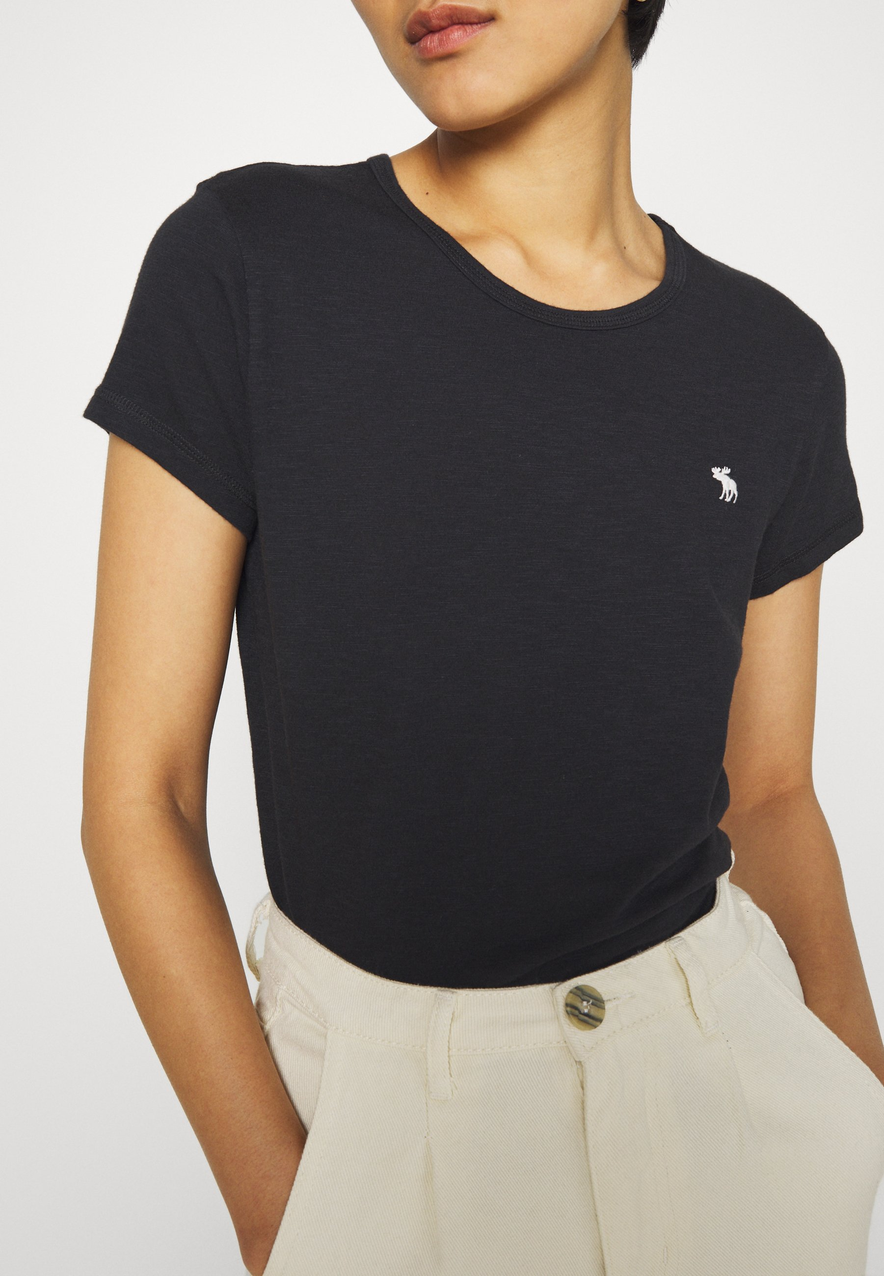 Abercrombie & Fitch SLIM TEE - T-shirts - black