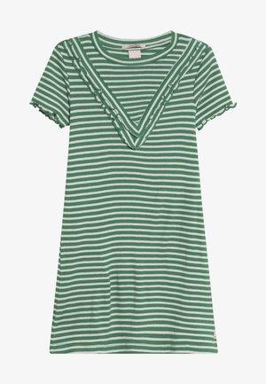 DRESS IN A LINE FIT AND RUFFLE DETAILS - Vestito di maglina - green/white