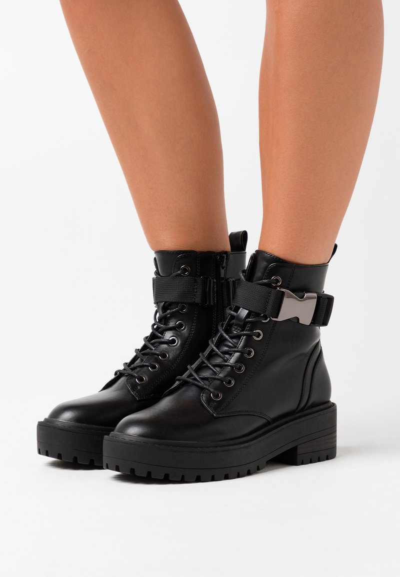 ONLY SHOES - ONLBRANDY LACE UP BOOT - Platform ankle boots - black