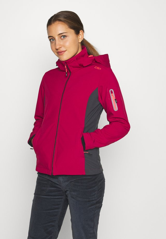 WOMAN JACKET ZIP HOOD - Softshelljas - magenta/antracite