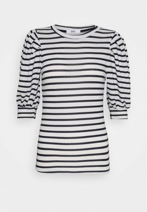 ONLELCOS STRIPES - Print T-shirt - cloud dancer/navy
