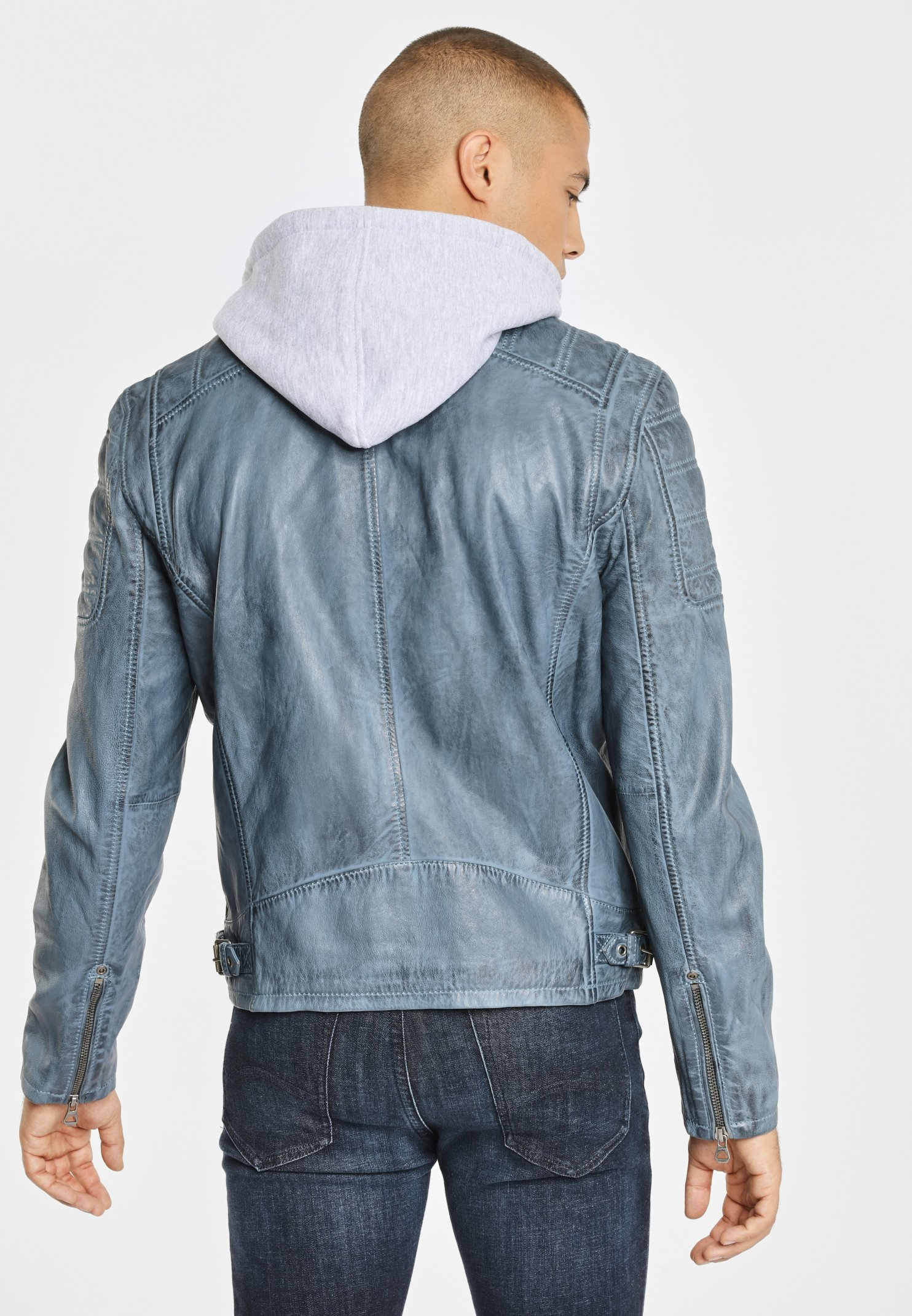 Gipsy LEDERJACKE RYLO LAKEV - Veste en cuir - dusty blue