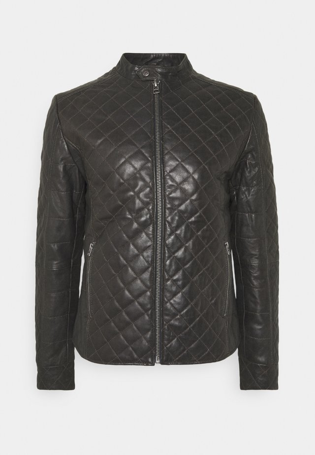 MERCURY BIKER - Leather jacket - caviar