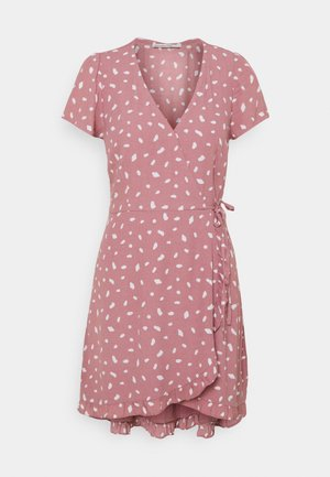 RUFFLE WRAP DRESS - Day dress - pink geo spot