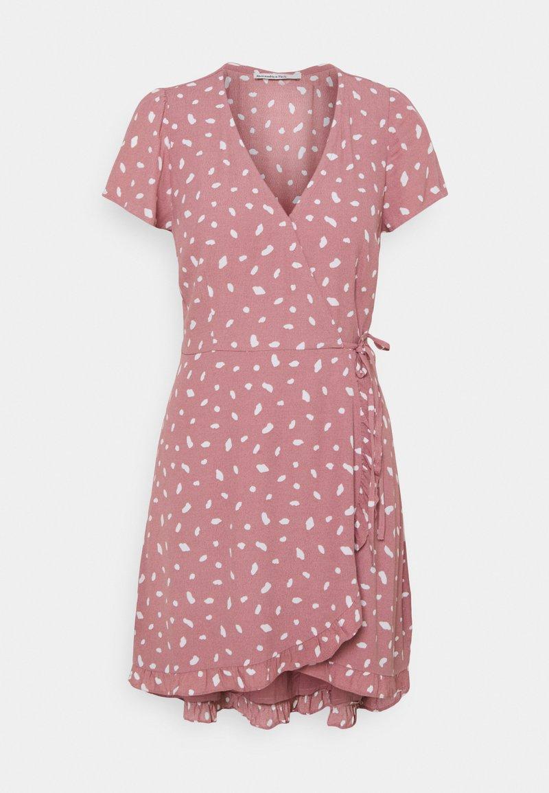 Abercrombie & Fitch - RUFFLE WRAP DRESS - Day dress - pink geo spot