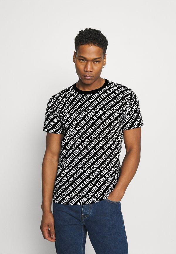 Calvin Klein Jeans DIAGONAL TEE - T-shirt z nadrukiem - black/czarny Odzież Męska HTWL