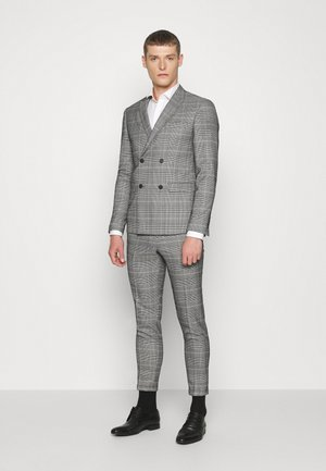 DOUBLE BREASTED CHECK SUIT - Traje - brown