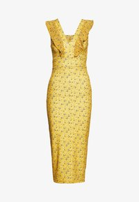 WAL G. - FRILL PRINT MIDI DRESS - Etuikleid - yellow - 0