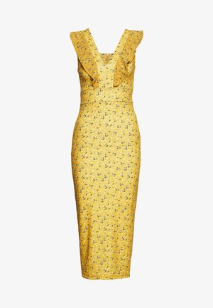 FRILL PRINT MIDI DRESS - Etuikleid - yellow