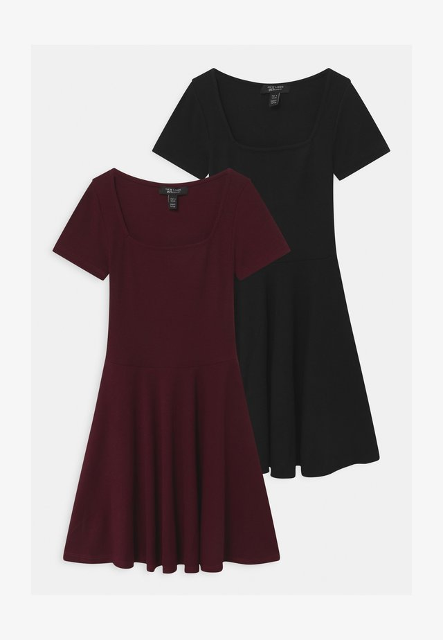 SOLID SKATER 2 PACK - Robe en jersey - burgundy/black